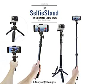 #1 Premium HD Selfie Stick & Tripod 3-in-1 Photo Kit for New GoPro, iPhone 6, Android or Camera - Bluetooth Shutter Included | Universal Fit: GoPro Hero4 4K, Hero4 Session, Hero3+, Hero3, Hero2, iPhone 6S, 6S Plus, iPhone 6, 6 Plus, iPhone 5, iPhone 4, Sa