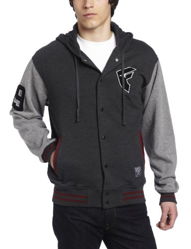 Famous Stars and Straps - Mens Top 99 Mems Button Hoodie in Heather Charcoal/Grey, Size: Small, Color: Heather Charcoal/Grey
