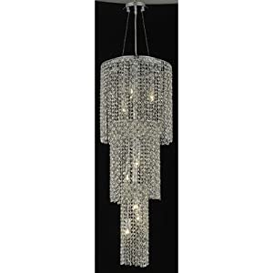 Moda 9 Light Large Round Pendant in Chrome Crystal Color / Crystal Trim: 84