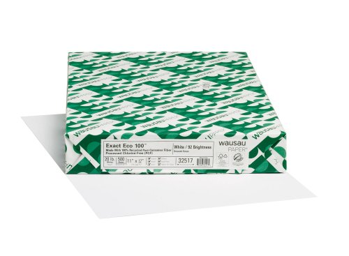 Wausau Exact Eco 100% Recycled Copy Paper, 92
