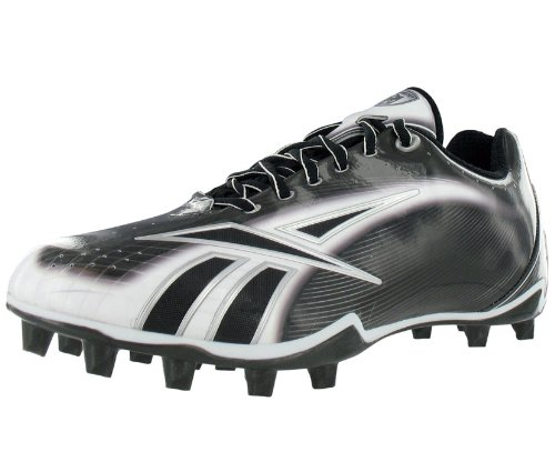 Reebok Men's NFL Burner Speed Lt Lo M4 Football Cleat,Black/White/Silver,12 M US