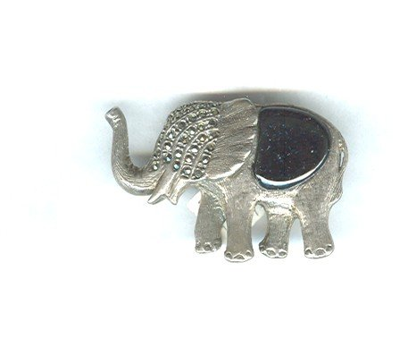 Sterling Silver Marcasite & Black Onyx Elephant Pin