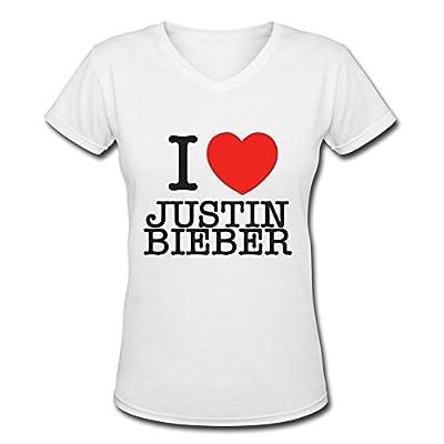 I Love Justin Bieber Tour 2016 Women's V Neck Tee Shirt
