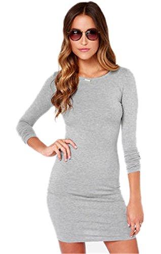 Sexy Maniche Lunghe Slim Fit Basic Base Bodycon Fascianti Aderente T-Shirt Maglietta Mini Corti Corto Vestito Abito Grigio L