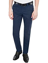 Only Vimal Men's Blue Slim Fit Cotton Chinos