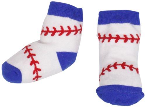 Mud Pie Newborn Baby-Boys Baseball Socks, White/Blue/Red, 0-12 Months front-545371