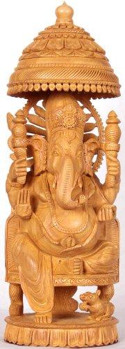 Enthroned Ganesha - Kadamba Wood Sculpture from Jaipur
