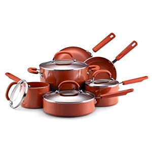 Earth Pan Nonstick Cookware 10-Piece Set: 1.5-Quart and 2-Quart Covered Saucepans, 6-Quart Covered Stockpot, 3-Quart Covered Saute, 8-Inch and 10-Inch Open Skillets, Terra Cotta