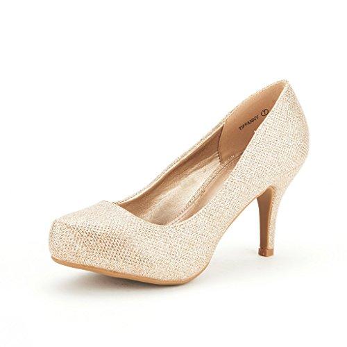 DREAM PAIRS TIFFANY Women's New Classic Elegant Versatile Low Stiletto Heel Dress Platform Pumps Shoes Gold Size 9