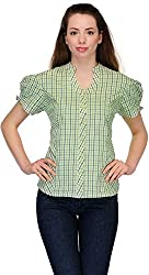 Belle Casual Short Sleeve Checkered Women's Top (BC -118_38)