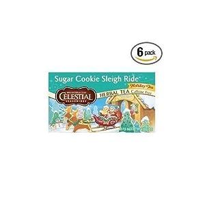 Celestial Seasonings Holiday Teas Sugar Cookie Sleigh Ride tea bags, 20 Count - 6 Per case ( 3 Pack)