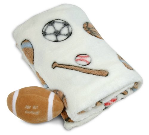 Stephan Baby Sports Fun Ultra Soft Fleece Blanket and My First Ball Gift Set, Football - 1