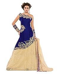 Maruti Suit Women's Velvet & Net Suit Material (15001, Blue, Free Size)