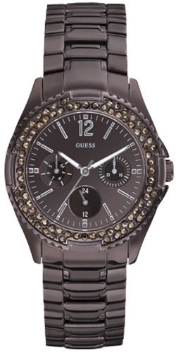 Guess Rock Candy Women's Quartz Watch With Brown Dial Analogue Display And Brown Stainless Steel Strap W15531l1 - Amazon UK