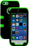 """myLife (TM) Bright Lime Green and Black - Robot Series (Neo Hypergrip Flex Gel) 3 Piece Case for iPhone 5/5S (5G) 5th Generation iTouch Smartphone by Apple (External 2 Piece Fitted On Hard Rubberized Plates + Internal Soft Silicone Easy Grip Bumper Gel + Lifetime Warranty + Sealed Inside myLife Authorized Packaging) """"Attention: This case comes grip easy smooth silicone that slides in to your pocket easily yet won"""