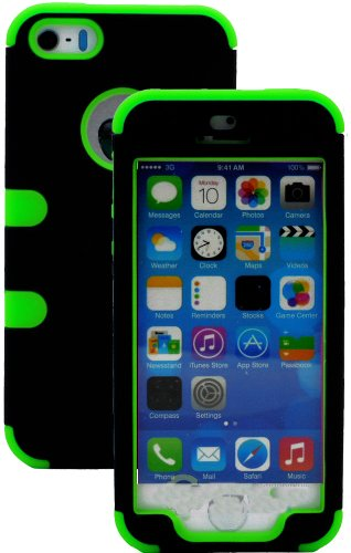 Mylife (Tm) Bright Lime Green And Black - Robot Series (Neo Hypergrip Flex Gel) 3 Piece Case For Iphone 5/5S (5G) 5Th Generation Itouch Smartphone By Apple (External 2 Piece Fitted On Hard Rubberized Plates + Internal Soft Silicone Easy Grip Bumper Gel +