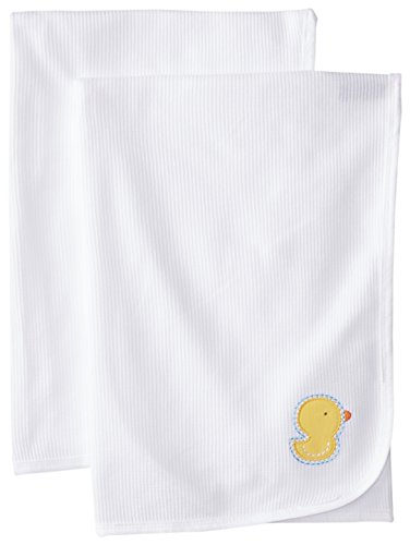 Gerber Unisex-Baby Newborn 2 Pack Thermal Receiving Blanket Duck, White, One Size - 1