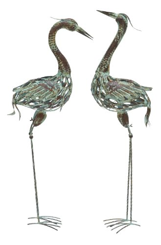 Deco 79 50401 Metal Decorative Crane Statue 40 by 38 Inch Set of 2