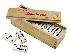 Double Six Dominoes with Spinners in Wood Box with Slide Lid
