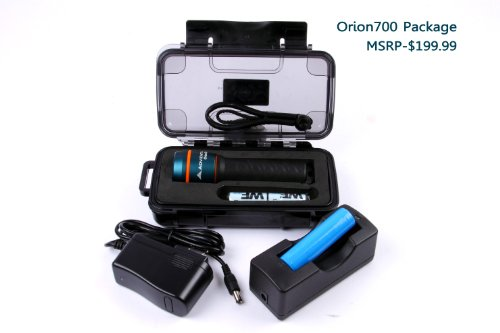 Adventus Orion700V 330Feet Waterproof Scuba Diving Torch Underwater Led Rechargeable Flashlight Video Light