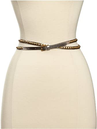 Streets Ahead Women's Silver Foil Skinny Belt With Gold Studs, Silver, Medium
