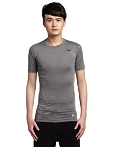 NIKE Herren Kurzarm Shirt Pro Core Tight 2.0, Carbon Heather/Black, S, 449792-021