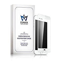 EUMASK [3D Original curve fit series] Iphone 6S plus / 6 plus full coverage tempered glass screen protector+backside protector, 3D curve polishing[White]-Compatible With New Force Touching Technology