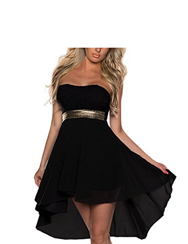 FASHION LOVER Women's Strapless High Low Cocktail Prom Dress Size S Black