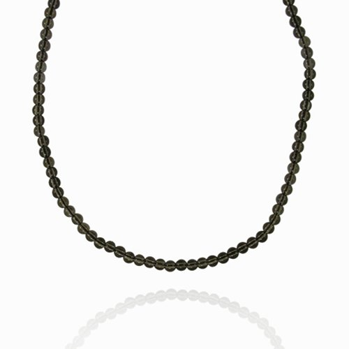 4mm Plain Round Smoky Quartz Bead Necklace, 50