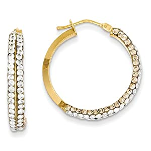 14k Champagne and White Swarovski Elements Hoop Earrings - JewelryWeb