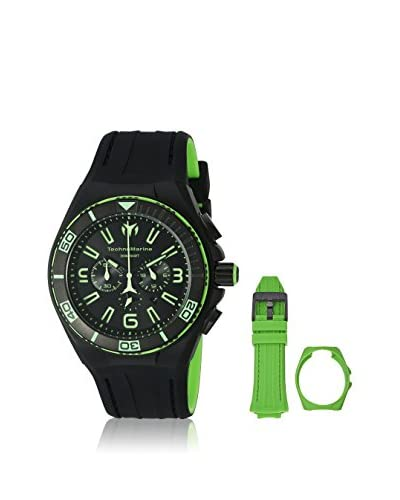 Technomarine Men's TM-115057 Cruise Night Vision Black, Green/Black Stainless Steel, Silicone Watch
