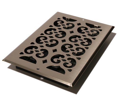 Decor Grates SP610W-NKL Scroll Steel Plated Wall Register, 6 x 10-Inch, Nickel (Decorative Air Register compare prices)