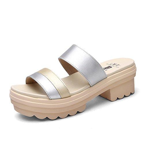 Sandales de chunky talons dames au cours de l'été/Luo Masong gâteau avec des semelles épaisses sandales/Babouches en cuir