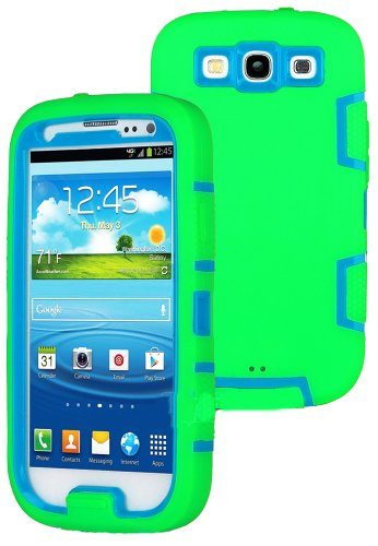 Mylife (Tm) Lime Green And Sky Blue - Classic Robot Armor Series (3 Piece Neo Hybrid Flexi Case + Urban Body Armor Glove) Case For Samsung Galaxy S3 Gt-I9300 And Gt-I9305 Touch Phone (Thick Silicone Outer Gel + Tough Rubberized Internal Shell)