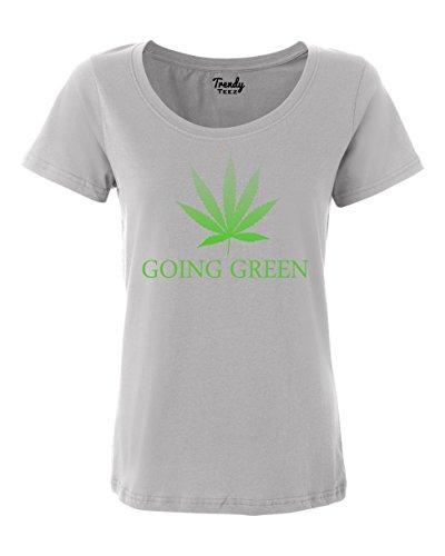 Trendy-Teez-Going-Green-Weed-Leaf-Marijuana-Pot-womens-T-Shirts-Silver-XL