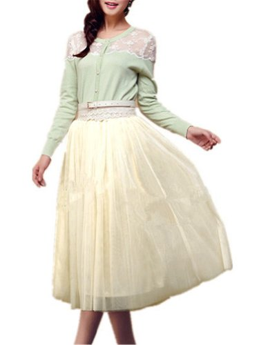 "V28® Women 6-Layer Mid Tulle Tutu Ballet Ruffle Bridal Petticoat Princess Skirt (One Size, Beige-Fits Waist  25.9""-31.5"")"