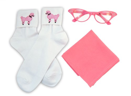 Hip Hop 50S Shop Adult 3 Piece Accessories - Adult Size Hot Pink Glasses, Socks And Scarf