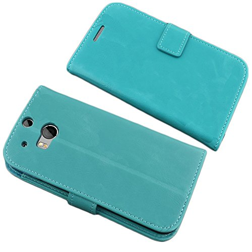 Mylife (Tm) Turquoise Green Quarts {Cool Design} Faux Leather (Card, Cash And Id Holder + Magnetic Closing) Slim Wallet For The All-New Htc One M8 Android Smartphone - Aka, 2Nd Gen Htc One (External Textured Synthetic Leather With Magnetic Clip + Internal