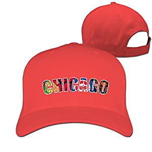 Yesher Funny Unique Chicago Logo Baseball Cap - Adjustable Hat - Red