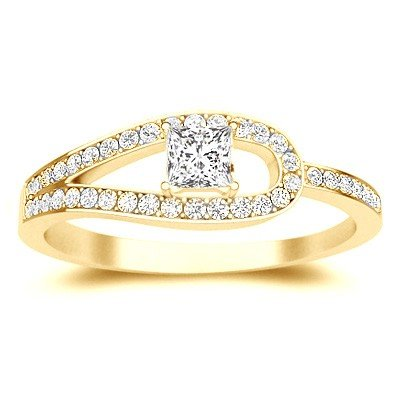 0.58 Carat Discount Diamond Engagement Ring with Princess cut Diamond on 18K Yellow gold