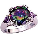 CHIC WOMEN Fine Jewelry Cocktail Mystic Rainbow Topaz Amethyst Purple 925 Silver Ring Size 7 8 9 10 11