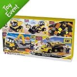 MEGA BLOKS CAT BUPER PACK INCLUDES DUMP TRUCK, ARTICULATED DUMP TRUCK,MATERIAL HAULER, BLACKHOE LOADER, AND 25 BONUS PCS