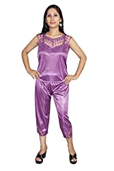 Indiatrendzs Women Satin Nightwear Purple 3pc Set Honeymoon Robe, Top & Capri Set