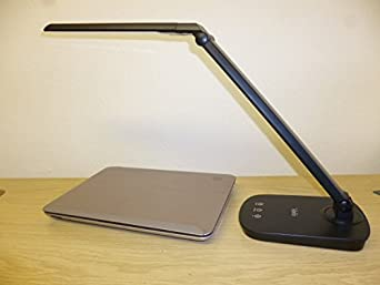 Seriously Bright Daylight LED dimmable desk Lamp Matt Black With USB Phone Charger 8 Watt 84 LEDS Touch dimmer 3 year Guarantee