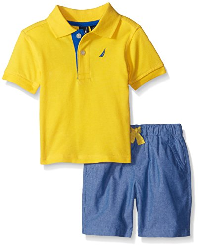 Nautica Baby 2 Piece Solid Polo Set, Ducky, 24 Months