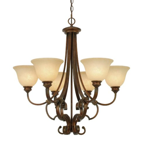 Golden Lighting 3711-6 CB Rockefeller Six Light Chandelier, Champagne Bronze Finish
