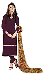 Khoobee Presents Embroidered Georgette Dress Material(Wine)