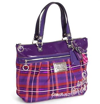 Coach Tartan Plaid Poppy Glam Shopper Bag Purse Tote Berry Multi 15886