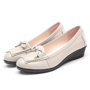 Leather shoes round/Slope with non-slip soft bottom shoes fashion/With light shoes-B Foot length=24.8CM(9.8Inch)