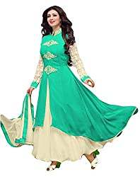 Sitaram womans georgette Rama green colour anarkali gown style semistiched material with dupatta.